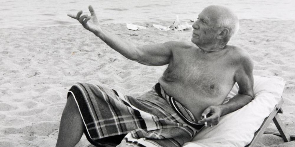 Lucien Clergue , Picasso à la plage, Cannes 1965